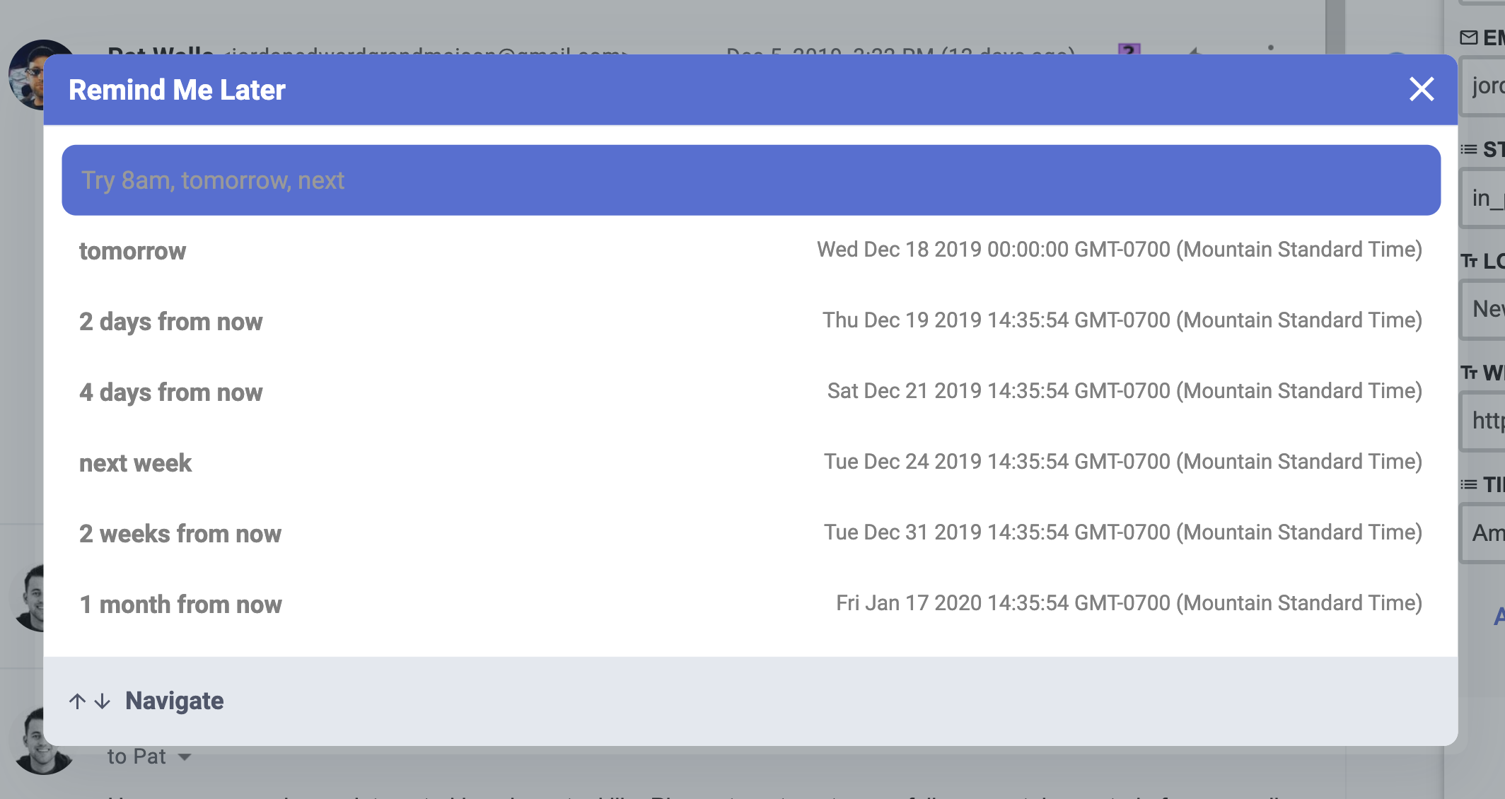 Screenshot of Gmail Thread With CRM in Browser